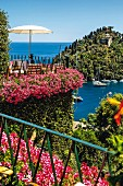 The terrace of the legendary 'Hotel Splendido' in Portofino, Liguria, Italy