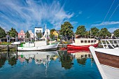 Boats moored at 'Alten Strom', Rostock, Germany