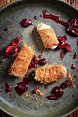 Knafeh with cherry sauce (Arabia)