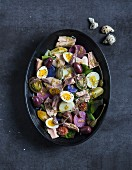 Salad nicoise, tuna, anchovy and quail egg