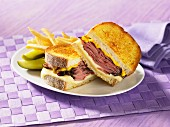 Smoked meat sandwich with cheese and mustard