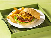 Beef burger with sauteed onions