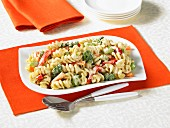 Cold pasta salad with brocolli and peppers
