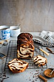 Cinnamon, almond and chocolate babka with coffee