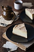 Slice of a brown butter vanilla cheesecake