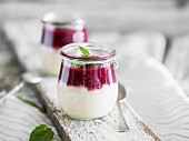 Bavarian cream dessert with berry sauce