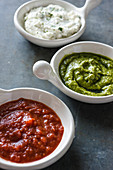 Various dips with aubergine