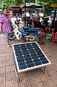 Solar panel at a street market, Vietnam
