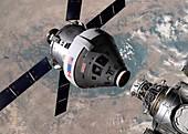 Crew exploration vehicle docking with ISS, illustration