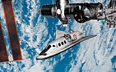 Cruise shuttle docking with the ISS, illustration