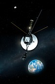 Artwork of Voyager Leaving Earth