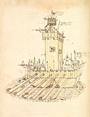 War ship, 15th century illustration
