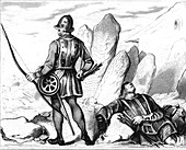 15th Century English archer, 19th Century illustration