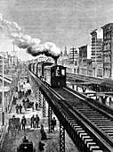 19th Century New York City elevated railway, illustration