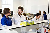 Chemistry students being supervised in lab