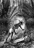 19th c. Native American making fire, illustration