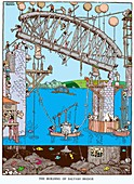 The building of Saltwash Bridge by W. Heath Robinson