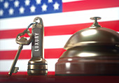 Hotel key and bell with American flag, illustration
