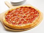 Whole Pepperoni Pizza on White