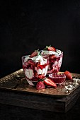 Berry Eton Mess with Strawberry Coulis