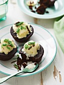 Choc-Mint Mud Cakes with Ice-Cream