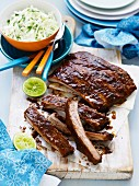 Sticky, Smoky Pork Ribs with Slaw
