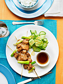 Cucumber Salad with Teriyaki Salmon Skewers