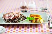 Duck breast with lentil salad and pumpkin