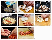 Farfalle mit Champignons, Wurst und Tomaten zubereiten