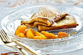 Crêpe Suzette with orange and vanilla ice cream