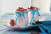 Strawberry pannacotta served in glasses