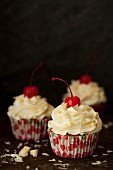 Maraschino Cherry Cupcakes with White Chocolate Buttercream