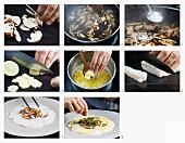 Kabeljau-Carpaccio mit Pilzen zubereiten