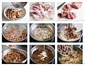How to make strips of cured pork with mushrooms