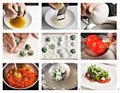 Spinatgnocchi mit Rucola und Tomatensauce zubereiten