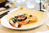Veal fillet with green asparagus