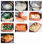 Lasagne mit Lachs und Spinat zubereiten