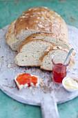 Buttermilk bread with elderflower fruit jam