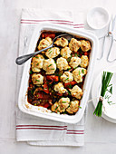 Vegie Casserole with Chive Dumplings