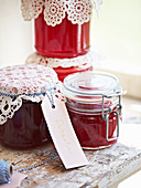 Jars of rhubarb jelly