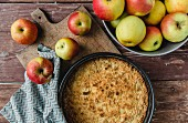 Apple cake and fresh apples