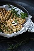 Vegan herb waffles