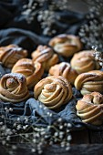 Vegan 'kanelknuter' (Norwegian cinnamon knots) with icing sugar