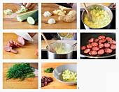 Schmorgurkensuppe mit Wurst zubereiten