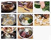 Steaksalat mit Croutons zubereiten