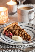 Winter-fruit crumble tart with cardamom custard