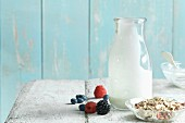 Cereal, yoghurt and berries for a muesli bowl