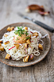 Radish noodles with Obatzter cheese spread and pretzel croutons
