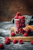 Raspberries in a glass