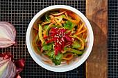 Vegetarian vegetable noodles with sesame seeds